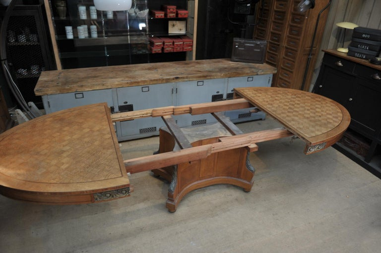 Bronze and Oak Marqueterie Expandable Dining Table Louis XVI Style, circa 1920 For Sale 6