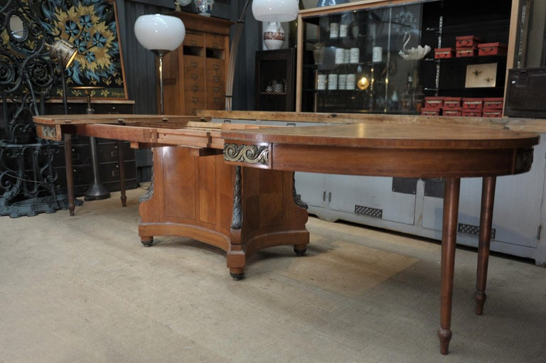 Bronze and Oak Marqueterie Expandable Dining Table Louis XVI Style, circa 1920 For Sale 8