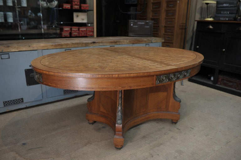 Bronze and Oak Marqueterie Expandable Dining Table Louis XVI Style, circa 1920 For Sale 9