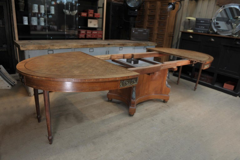 French Bronze and Oak Marqueterie Expandable Dining Table Louis XVI Style, circa 1920 For Sale