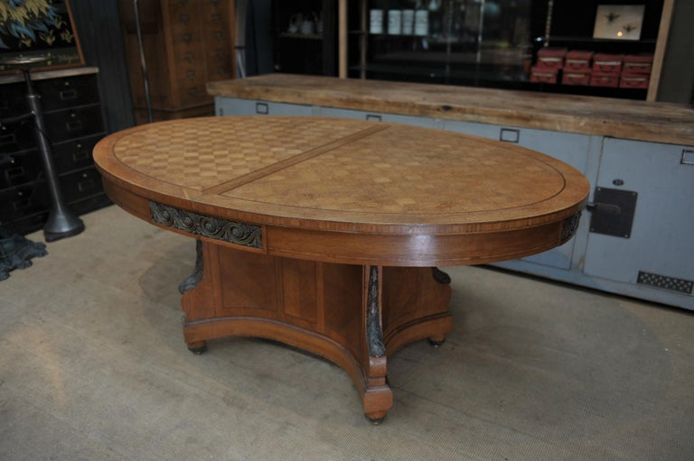 Early 20th Century Bronze and Oak Marqueterie Expandable Dining Table Louis XVI Style, circa 1920 For Sale