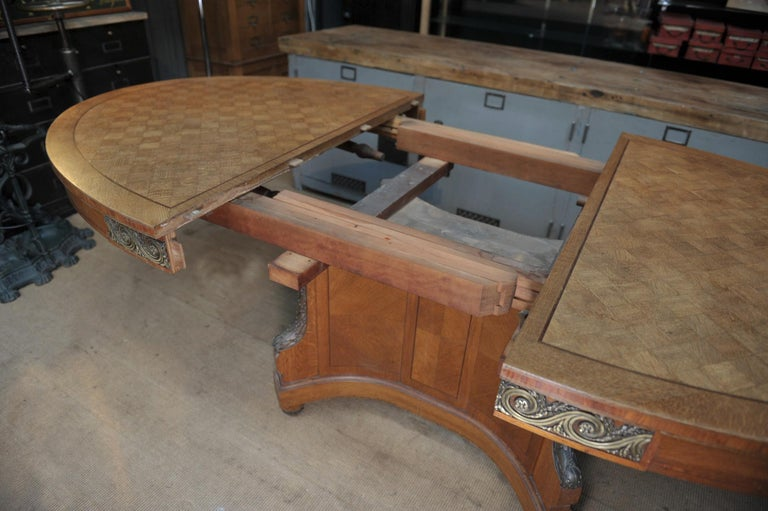 Wood Bronze and Oak Marqueterie Expandable Dining Table Louis XVI Style, circa 1920 For Sale