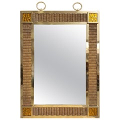 Bronze Braided Brass and Pâte de Verre Mirror