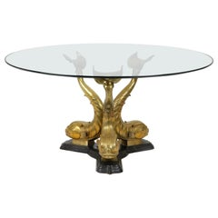 Bronze and Patinated Bronze Round Dolphin Table with Glass Top