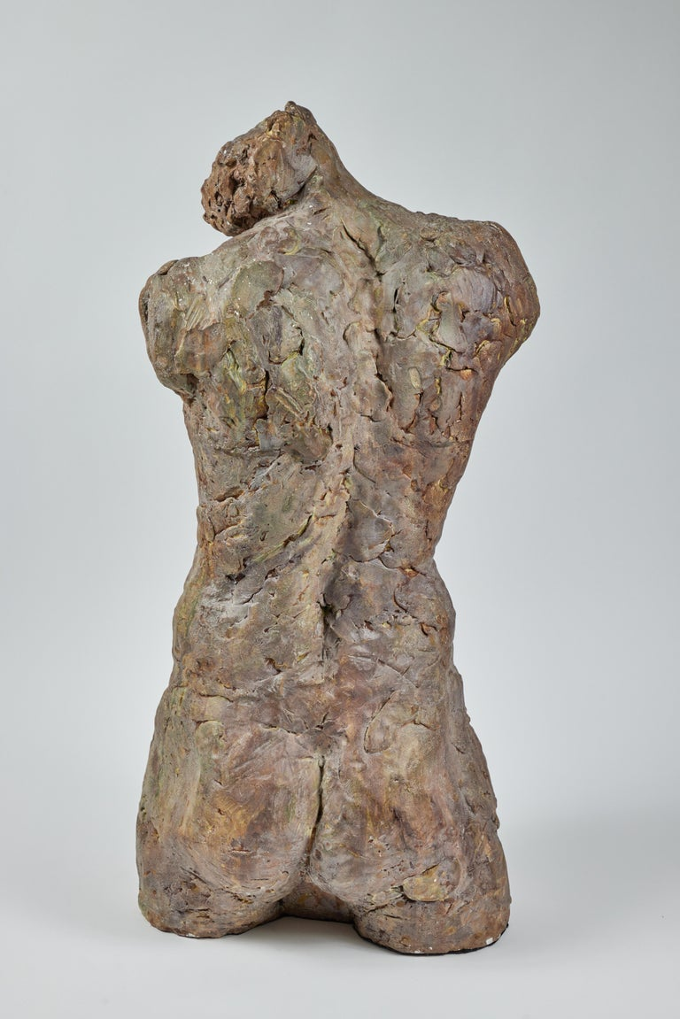 American Bronze and Plaster Nude Male Sculpture For Sale
