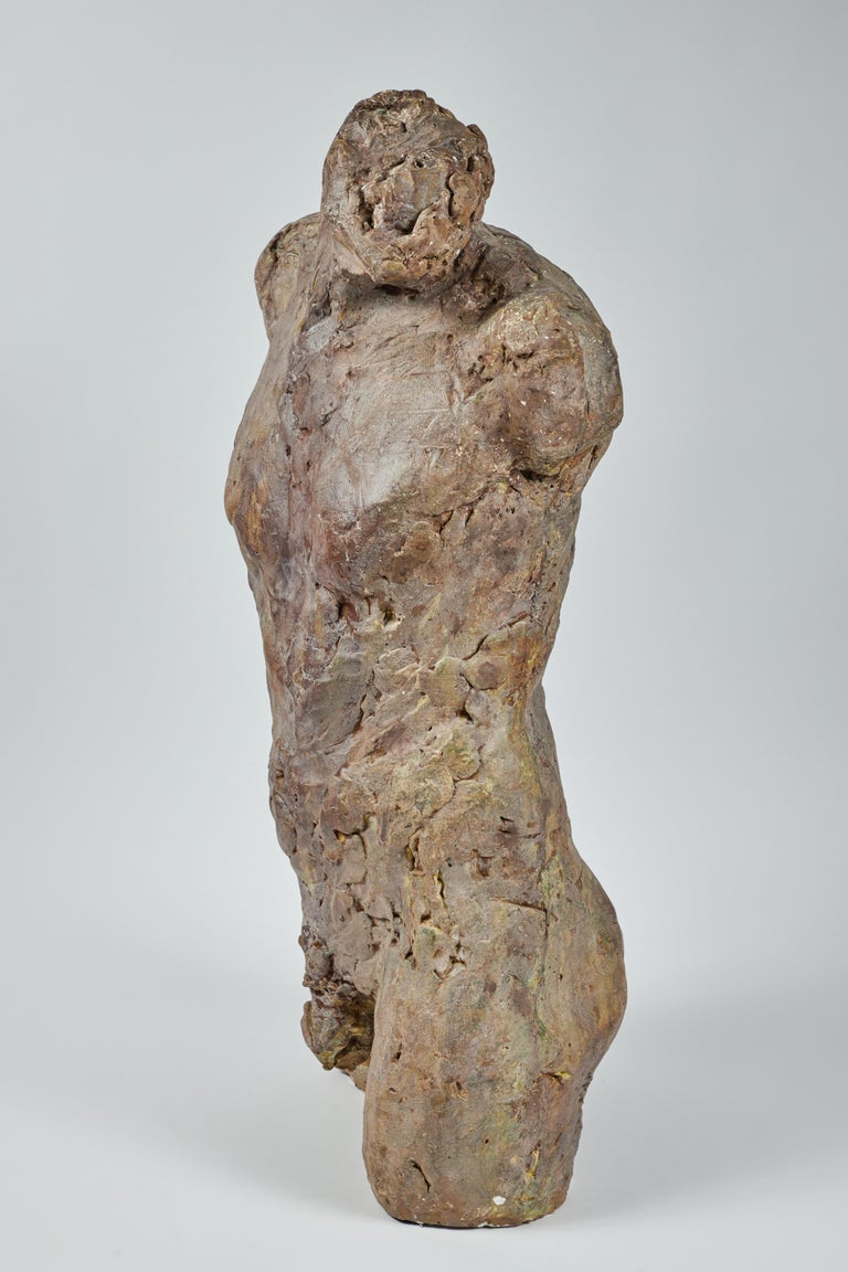 Bronze and Plaster Nude Male Sculpture In Good Condition For Sale In Pasadena, CA