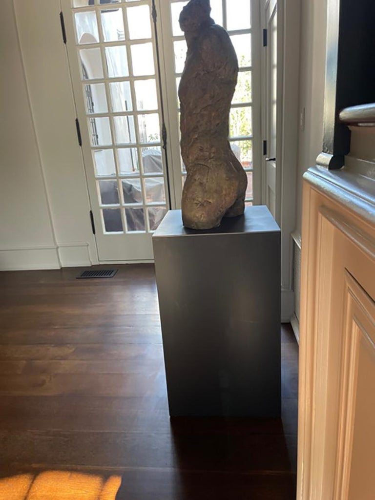Bronze and Plaster Nude Male Sculpture For Sale 3