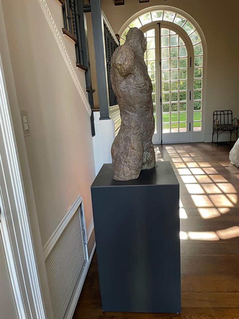 Bronze and Plaster Nude Male Sculpture For Sale 4