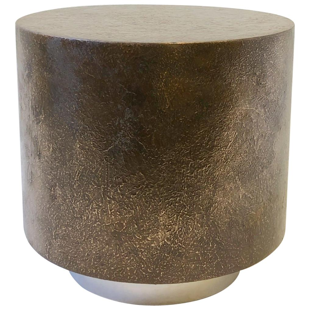 Bon Bronze And Polish Stainless Steel Drum Side Table By Steve Chase