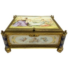 Bronze and Porcelain Jewelry Box, Porcelain Plaques Painted by Johner