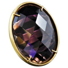 Bronze and Purple Faceted Glass Huge Italian Ring by Patrizia Daliana