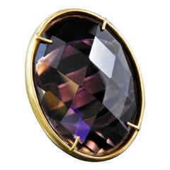 Bronze and Purple Faceted Glass ring by Patrizia Daliana