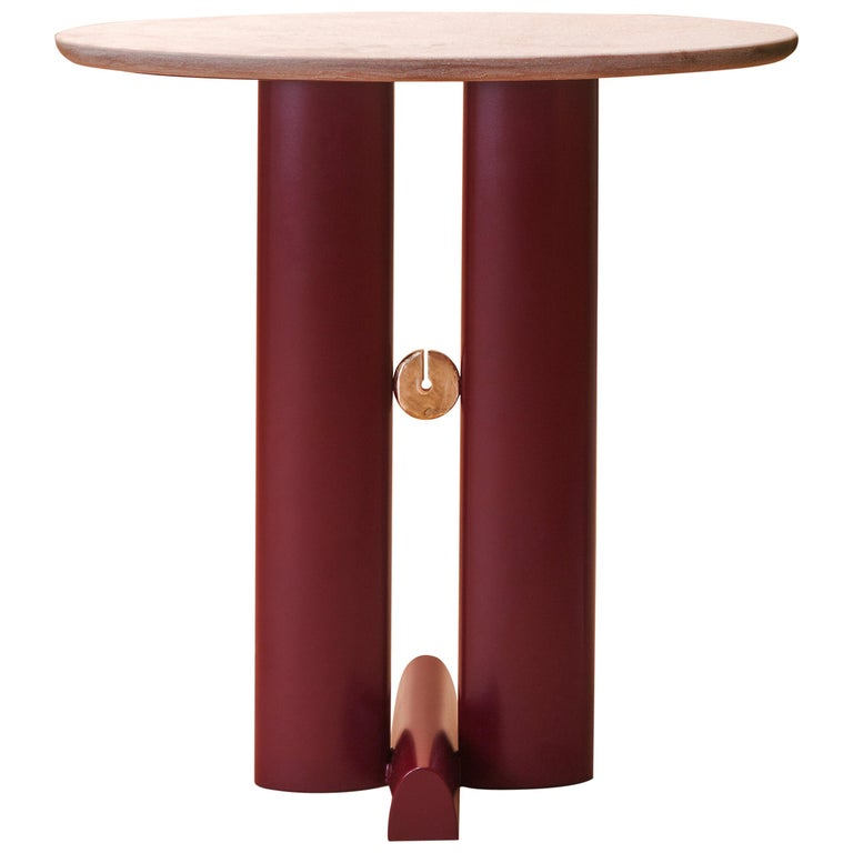 "Bronze and Quartzite ""Alcova"" Side Table, Ilaria Bianchi For Sale"