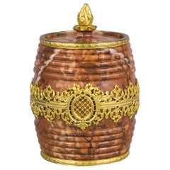 Bronze and Rouge Marble Barrel Form Canister, circa 1900