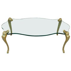 Bronze and Scalloped Thick Glass Cocktail Table