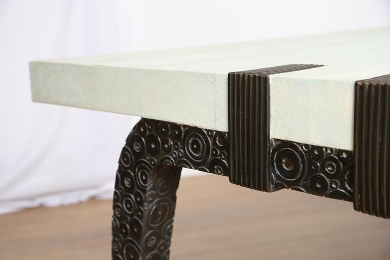 Bronze and Shagreen Monumental Table by R & Y Augousti For Sale 5