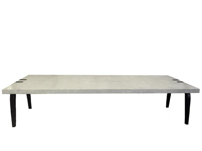 Bronze and Shagreen Monumental Table by R & Y Augousti In Good Condition For Sale In Miami, FL