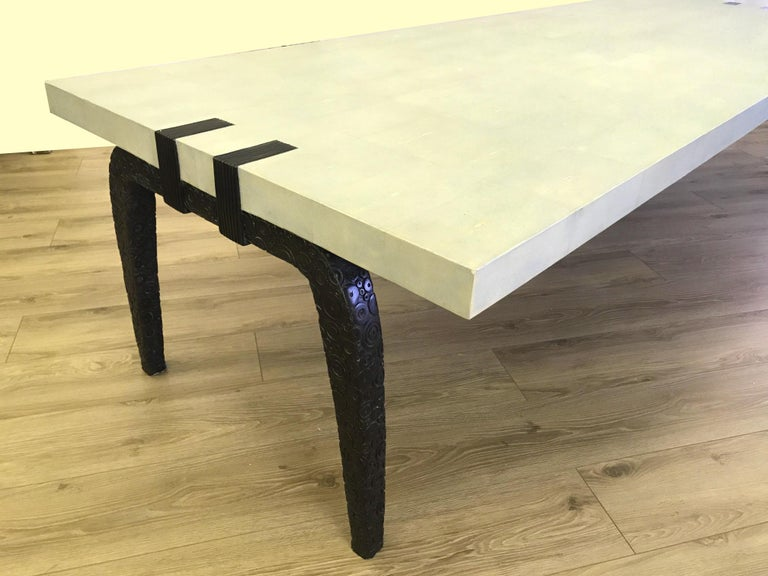 Bronze and Shagreen Monumental Table by R & Y Augousti For Sale 1