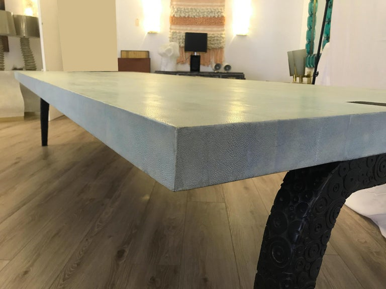 Bronze and Shagreen Monumental Table by R & Y Augousti For Sale 3