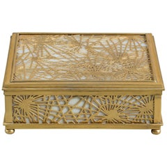 Bronze and Slag Glass Tiffany Jewelry Box, Art Deco Period, United States