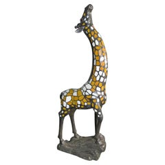 Bronze and Stained Glass Lighted Giraffe Floor Sculpture