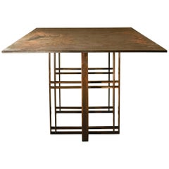 Bronze and Steel Dining Table Handcrafted and Signed by Novocastrian