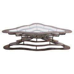"""Bronze and Steel """"Volcano"""" Coffee Table by Silas Seandel"""