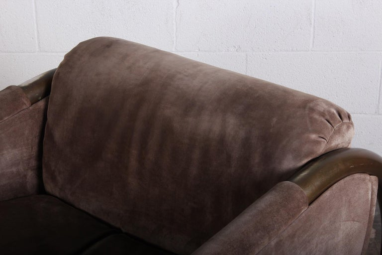 Bronze and Suede Lounge Chair by Dunbar For Sale 6