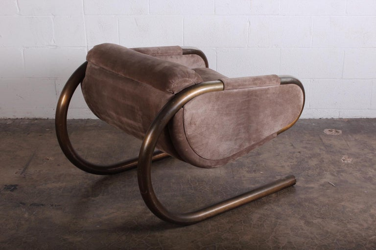 Bronze and Suede Lounge Chair by Dunbar For Sale 1