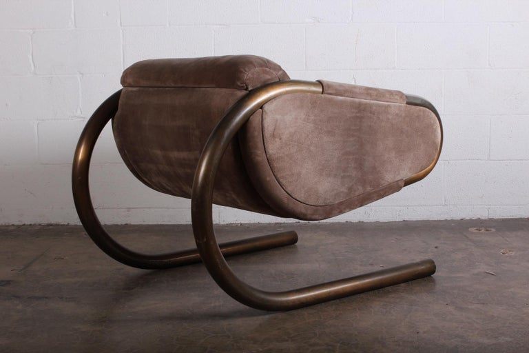 Bronze and Suede Lounge Chair by Dunbar For Sale 2