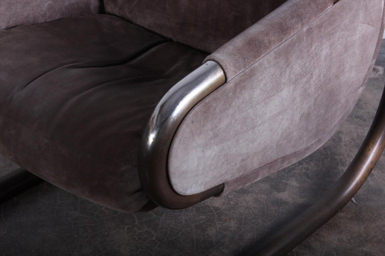 Bronze and Suede Lounge Chair by Dunbar For Sale 5