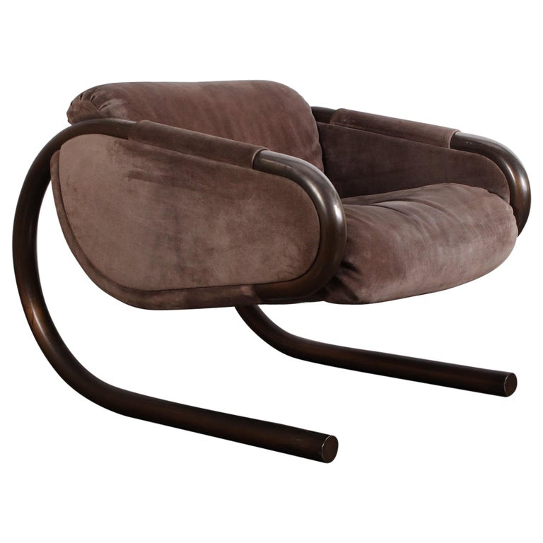 Bronze and Suede Lounge Chair by Dunbar For Sale
