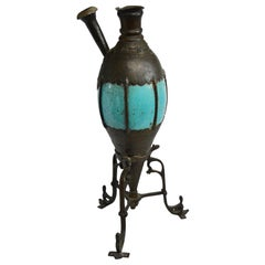 Bronze and Turquoise Ceramic Hookah Pipe, Late 19th Century
