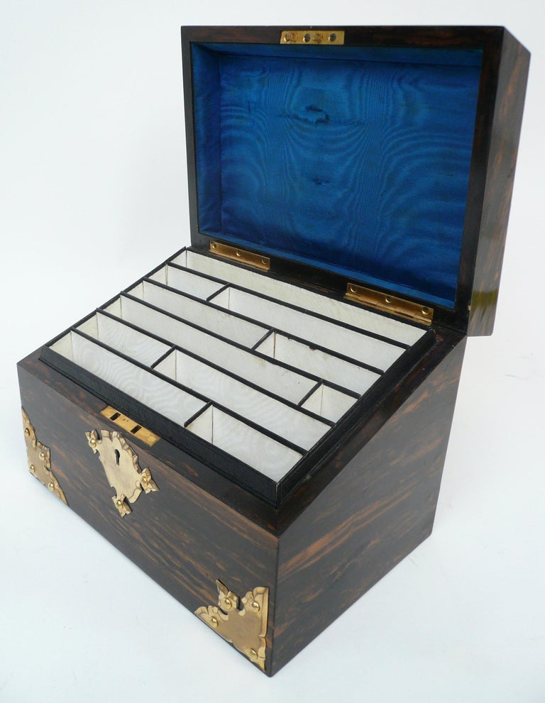 Bronze and Wedgwood Jasperware Mounted Calamander Stationary Box by Asprey & Son For Sale 2