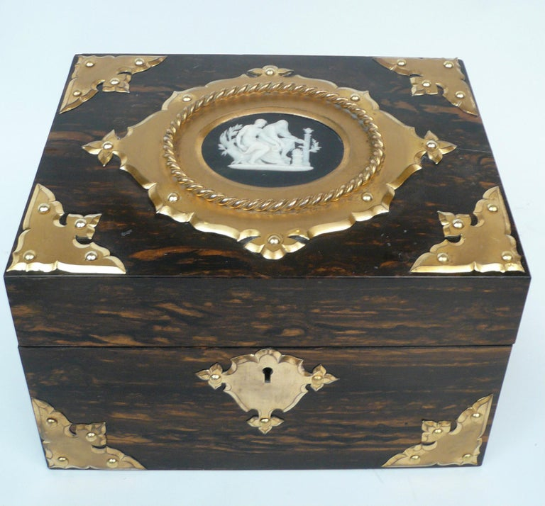 Bronze and Wedgwood Jasperware Mounted Calamander Stationary Box by Asprey & Son For Sale 4
