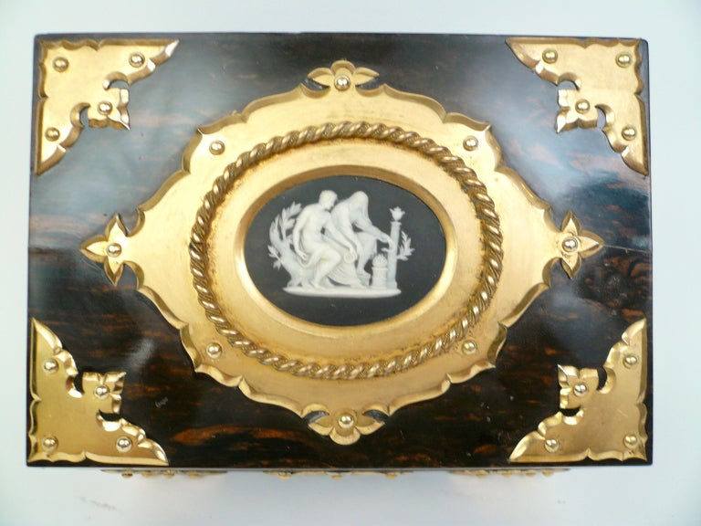 Hand-Crafted Bronze and Wedgwood Jasperware Mounted Calamander Stationary Box by Asprey & Son For Sale