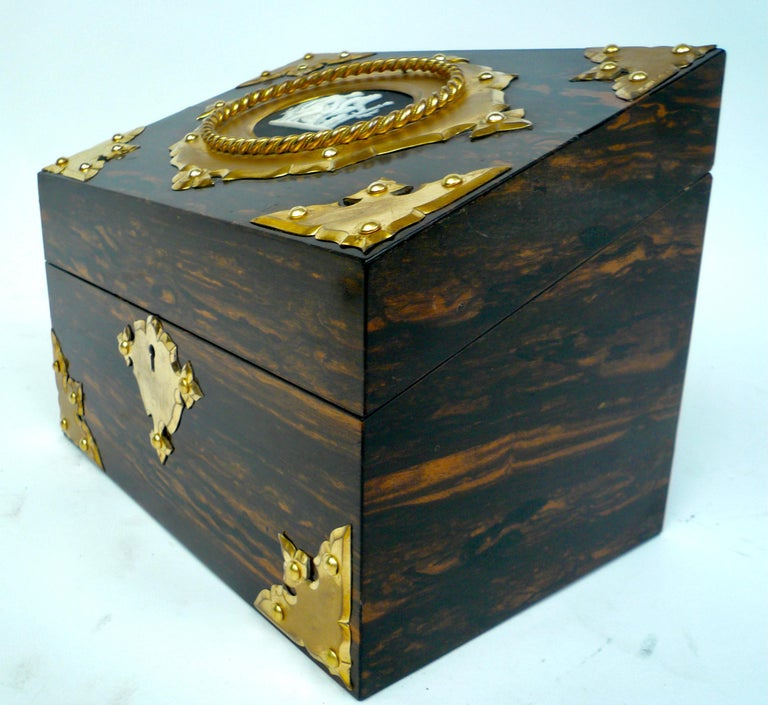 Bronze and Wedgwood Jasperware Mounted Calamander Stationary Box by Asprey & Son In Good Condition For Sale In Pittsburgh, PA