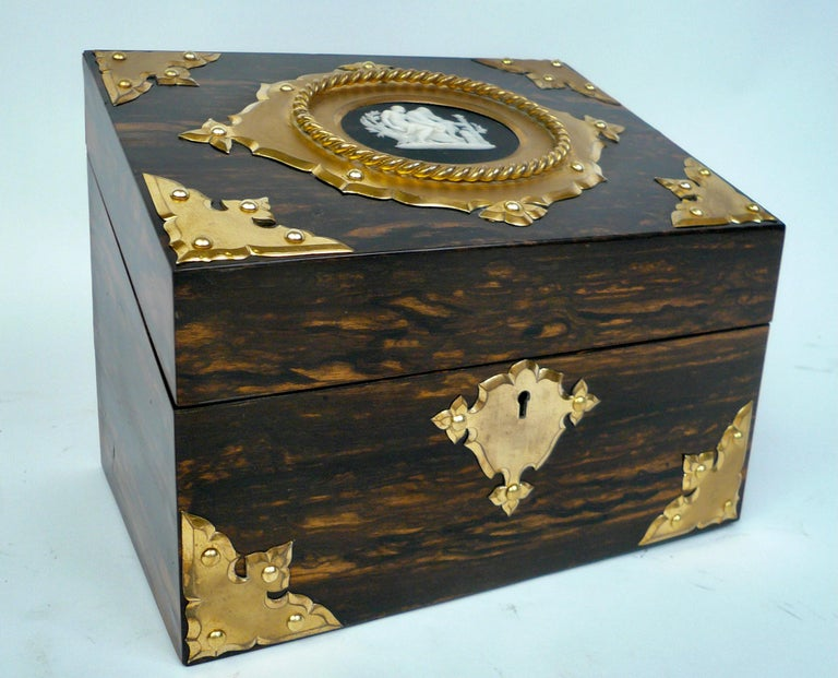19th Century Bronze and Wedgwood Jasperware Mounted Calamander Stationary Box by Asprey & Son For Sale