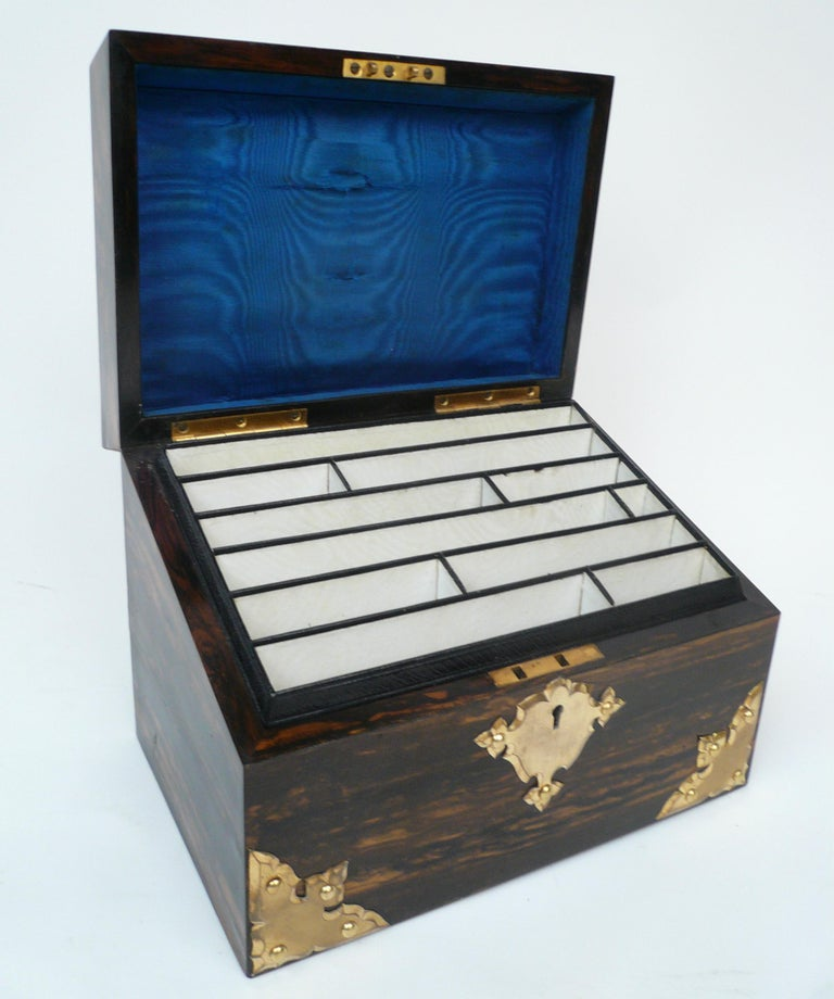 Bronze and Wedgwood Jasperware Mounted Calamander Stationary Box by Asprey & Son For Sale 1