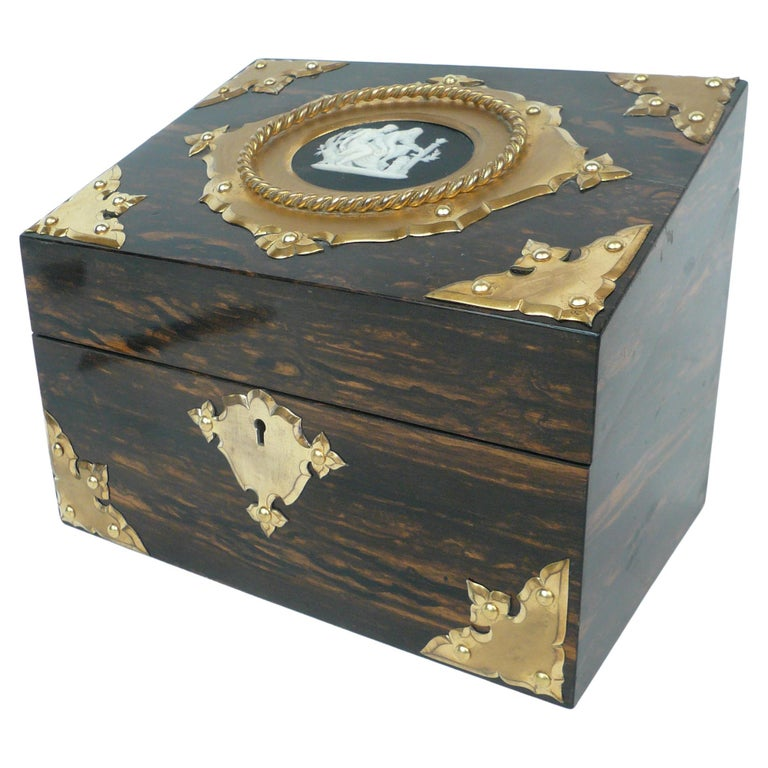 Bronze and Wedgwood Jasperware Mounted Calamander Stationary Box by Asprey & Son For Sale