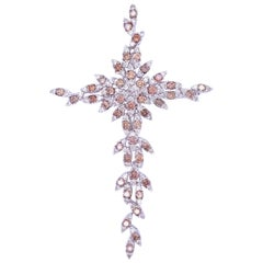 Bronze and White Diamond Cross Pin/Pendant