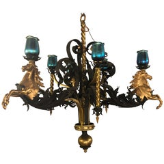 Bronze and Wrought Iron Palatial Stallions Chandelier with Quezal Style Shades