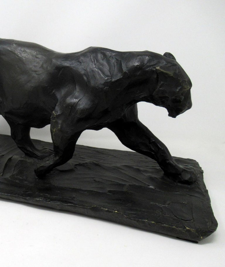 Bronze Animal Sculpture Figure Panther Big Cat after Bugatti Art Deco Style In Excellent Condition For Sale In Dublin, Ireland