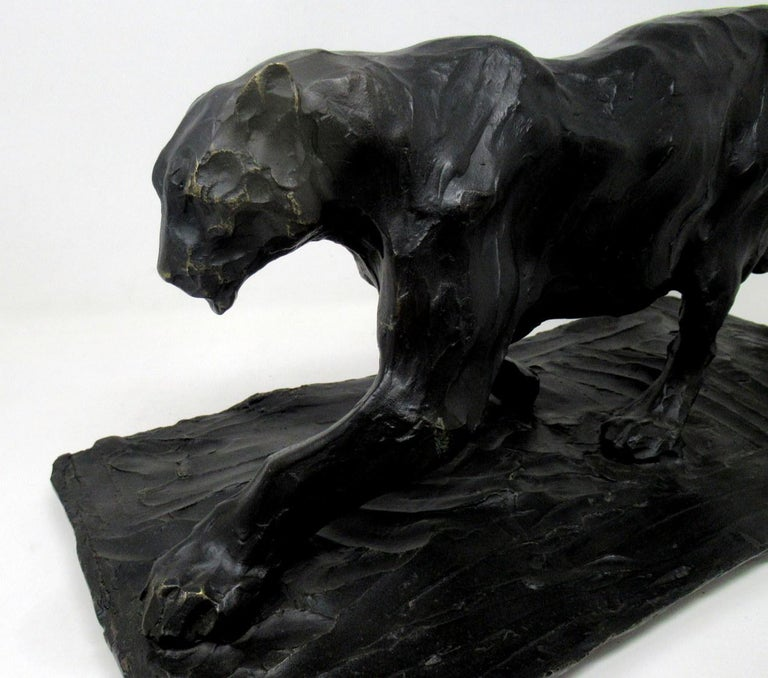 20th Century Bronze Animal Sculpture Figure Panther Big Cat after Bugatti Art Deco Style For Sale