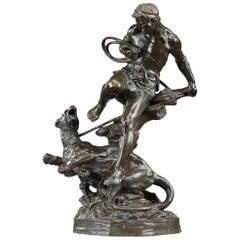 Bronze Animal Sculpture The Lioness Tamer by Édouard Drouot