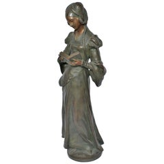 Bronze Antique Elegant Lady Reading a Book, Late 1890s