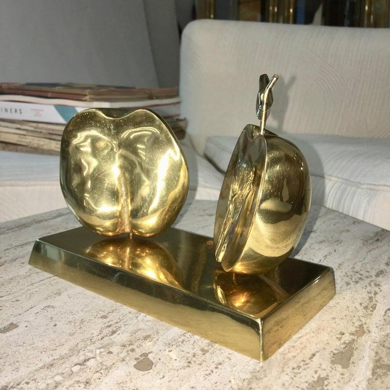 Bronze Apple Halves Sculpture For Sale 4