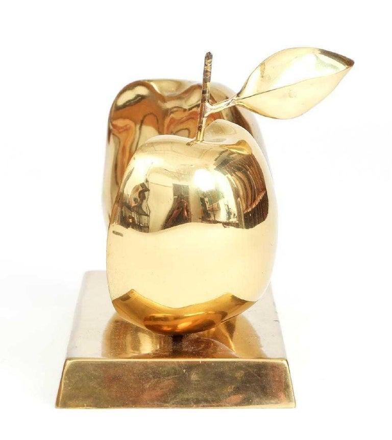 French Bronze Apple Halves Sculpture For Sale
