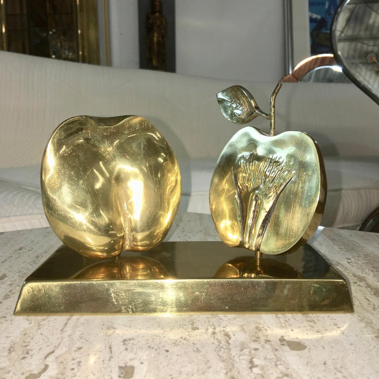 Bronze Apple Halves Sculpture In Good Condition For Sale In Hingham, MA