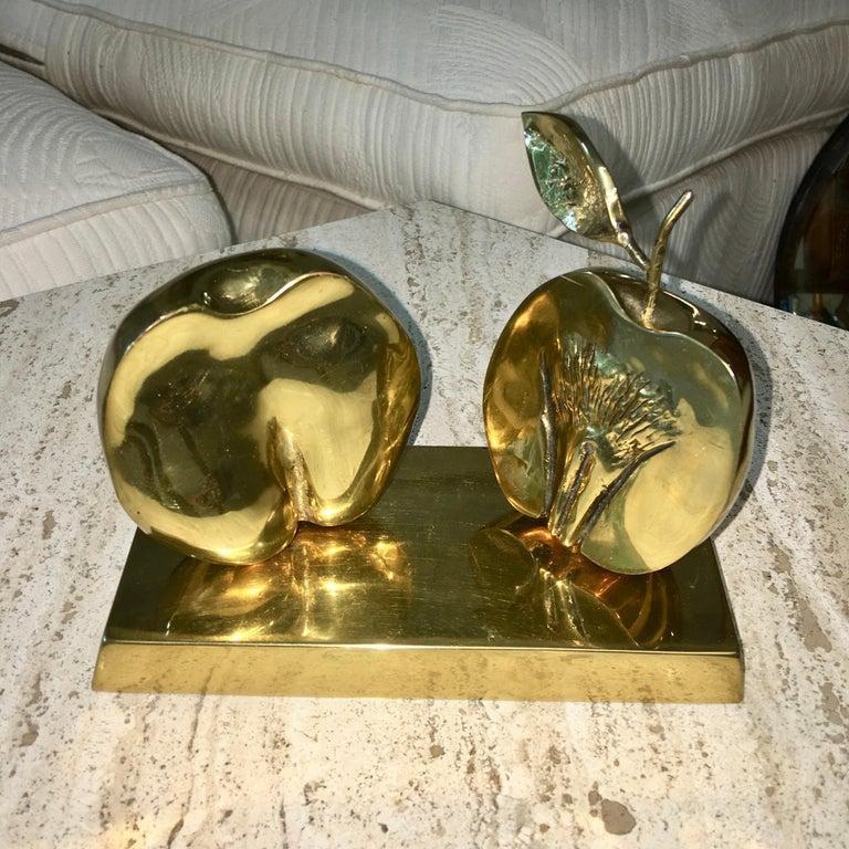 Bronze Apple Halves Sculpture For Sale 1